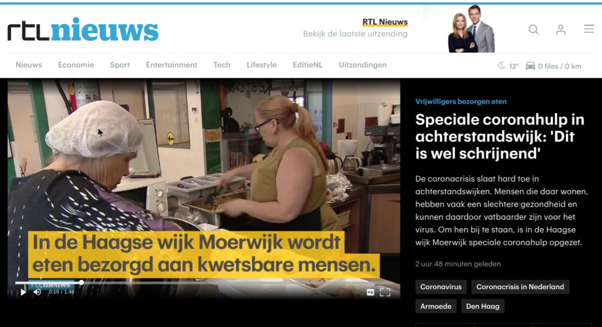 Coronahulp actie Moerwijk in het RTL Nieuws